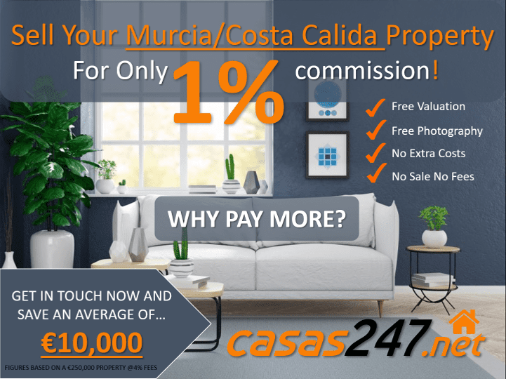 Sell Your Spanish Property for 1% in Murcia Costa Calida